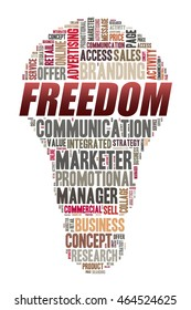 FREEDOM word on word cloud concept with bulb shape
