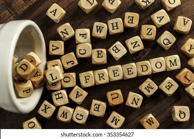 FREEDOM word on wood blocks concept