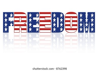 Freedom word with superimposed american flag star and stripe pattern