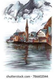 Freehand colour Europe Austria landscape sketch