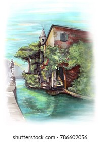 Freehand colour Europe Italy Como landscape sketch