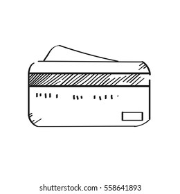 Freehand drawing illustration credit card.