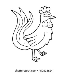 freehand drawn black and white cartoon cock