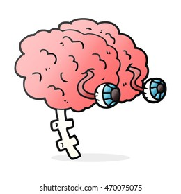 freehand drawn cartoon brain