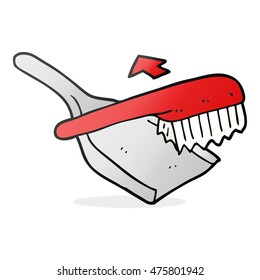 freehand drawn cartoon dust pan and brush
