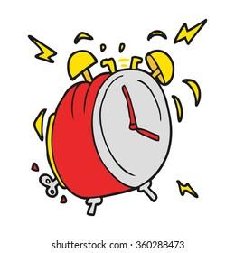 freehand drawn cartoon ringing alarm clock