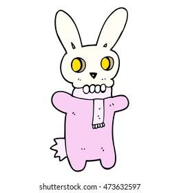 freehand drawn cartoon spooky skull rabbit
