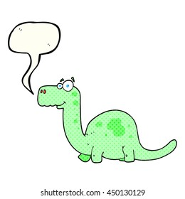 freehand drawn comic book speech bubble cartoon dinosaur