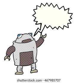 freehand drawn comic book speech bubble cartoon robot