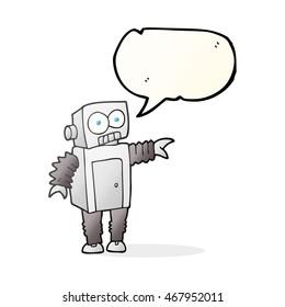 freehand drawn speech bubble cartoon robot