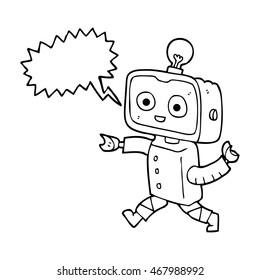 freehand drawn speech bubble cartoon little robot