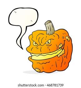 freehand drawn speech bubble cartoon spooky pumpkin