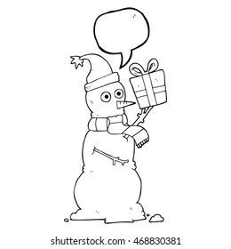 freehand drawn speech bubble cartoon snowman holding present