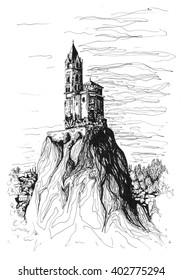 Freehand ink drawing. Chapel Saint-Michel d'Aiguilhe, France.