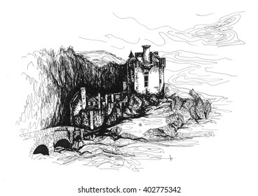 Freehand ink drawing. Eilean Donan castle. Dornie, Scotland.