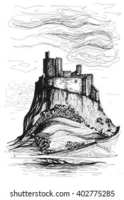 Freehand ink drawing. Lindisfarne Castle, England.