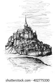 Freehand ink drawing. Mont-Saint-Michel, France.