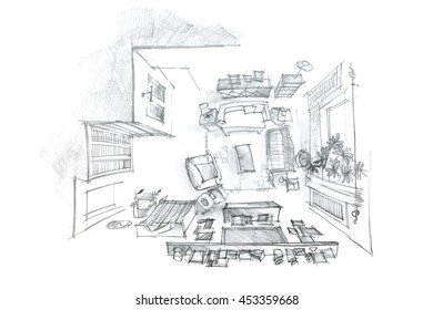 freehand interior sketch of modern living room with furniture, top view
