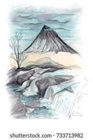 Freehand marker sketch of waterfall landscape in Scotland