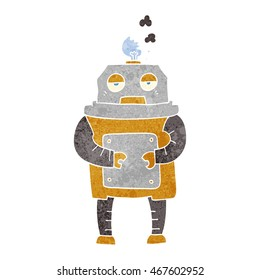 freehand retro cartoon broken robot