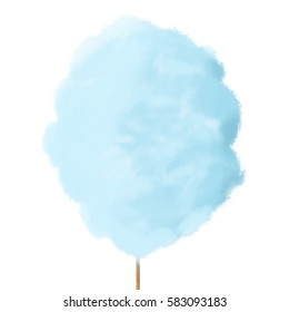Freehand simple drawn Cotton sugar or Sugar cloud, digital illustration painting design.