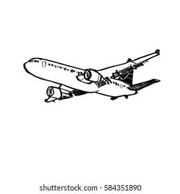 Freehand simple drawn jet plane, digital illustration painting design.