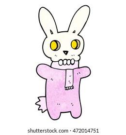 freehand textured cartoon spooky skull rabbit