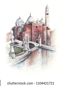 Freehand watercolour painting of Basilica Sant'Antonio in Padova