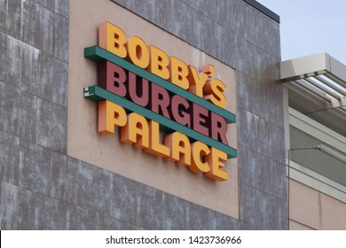 Freehold, NJ / USA - June 12, 2019: Outside signage for Bobby's Burger Palace, BBP is an attempt at an upscale fast food franchise started by Chef Bobby Flay.