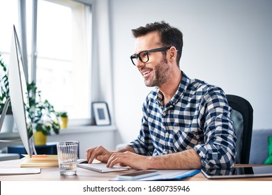 Freelance programmer working from home office