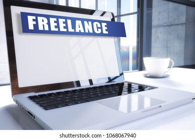 Freelance text on modern laptop screen in office environment. 3D render illustration business text concept.