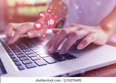 Freelance woman hand using laptop computer for marketing or playing social media and website, Social network technology concept.