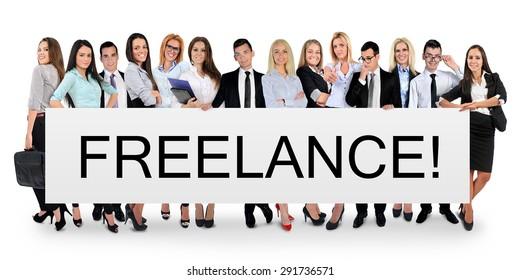 Freelance word writing on white banner