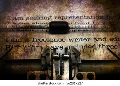 Freelance writer letter on typewriter