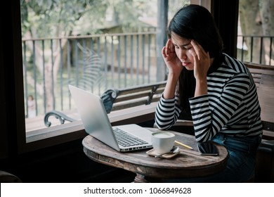 Freelancer woman suffering stress working at office asking for help feeling tired.