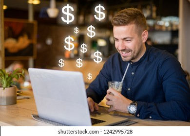 Freelancer working outside the office checking his balance and earnings. Getting paid concept. Internet money income.