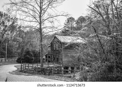 Freeman's Mill House Black and White Photography Lawrenceville Georgia USA February 2016 Old Historic Farmhouse Nature Park