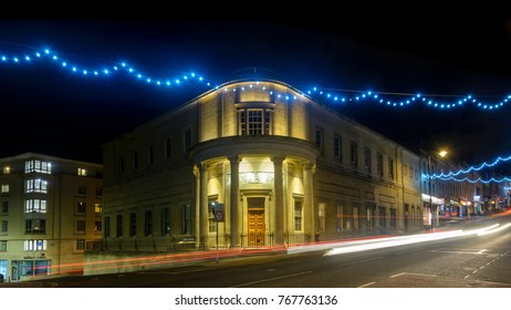 Freemasons Hall on Park Street in Bristol, England. Long Exposure Night Photography, decorative Christmas Lights