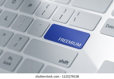 FREEMIUM | Button on Computer Keyboard. 3d Rendering