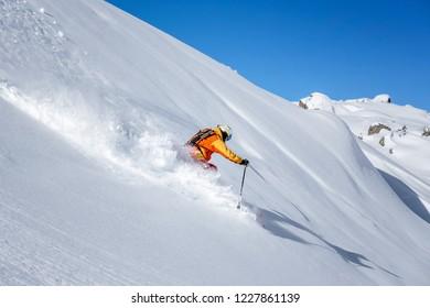 freeride skiing in powder snow