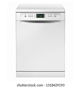 Freestanding Dishwasher Machine Isolated on White Background. Front View of Modern Dishwasher Range in White. Domestic and Kitchen Appliances. Household Electrical Equipment