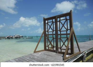 Free-standing gate to private dock in Cancun