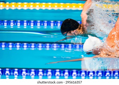 freestyle men swimming race in swimming pool