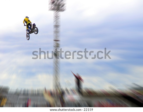 Freestyle Motorcross stunt.