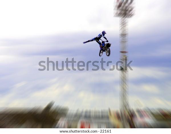 Freestyle Motorcross stunt.