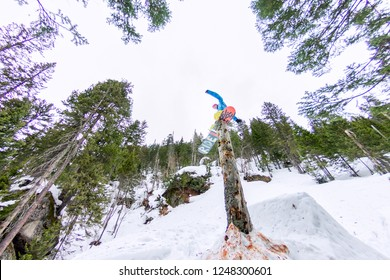 Freestyle snowboarder makes flatland standing on a log in a forest in winter mountains