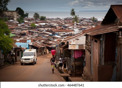 Freetown, Sierra Leone - June 1, 2013: slums of the city