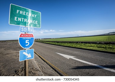 Freeway entrance sign on California Interstate 5