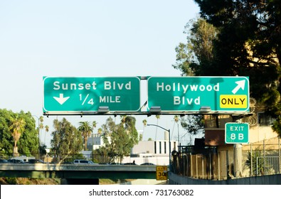 Freeway exit sign on U.S. Route 101 in California