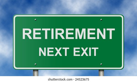 Freeway exit sign suitable for retirement, investment, and employment concepts.